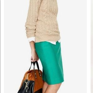J.Crew collection green pencil skirt in size 6